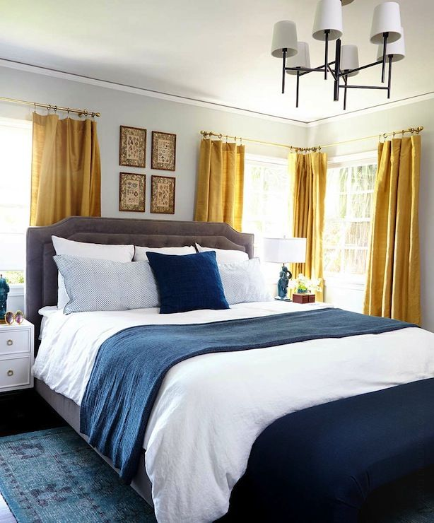 Gold Curtains Eclectic Bedroom Benjamin Moore Gray