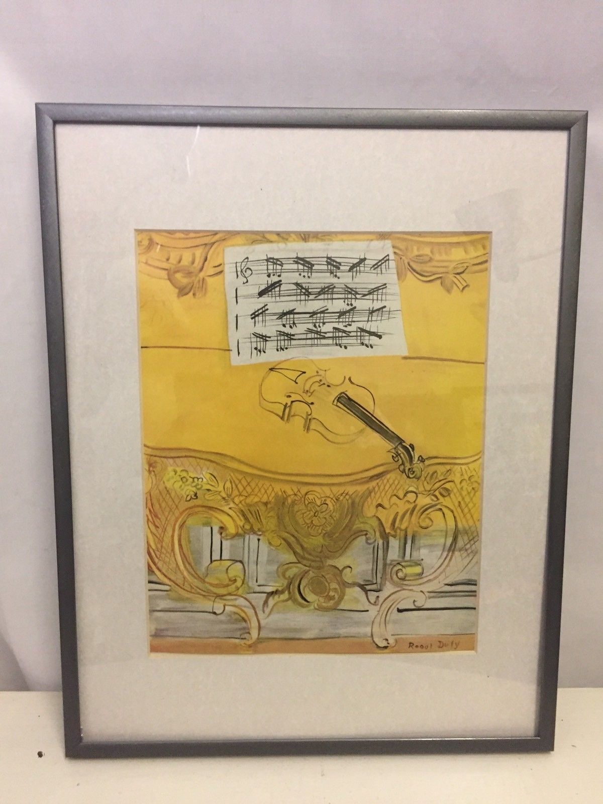 Yellow Console with Violin Mini Print Framed By Raoul Dufy Sheet ...