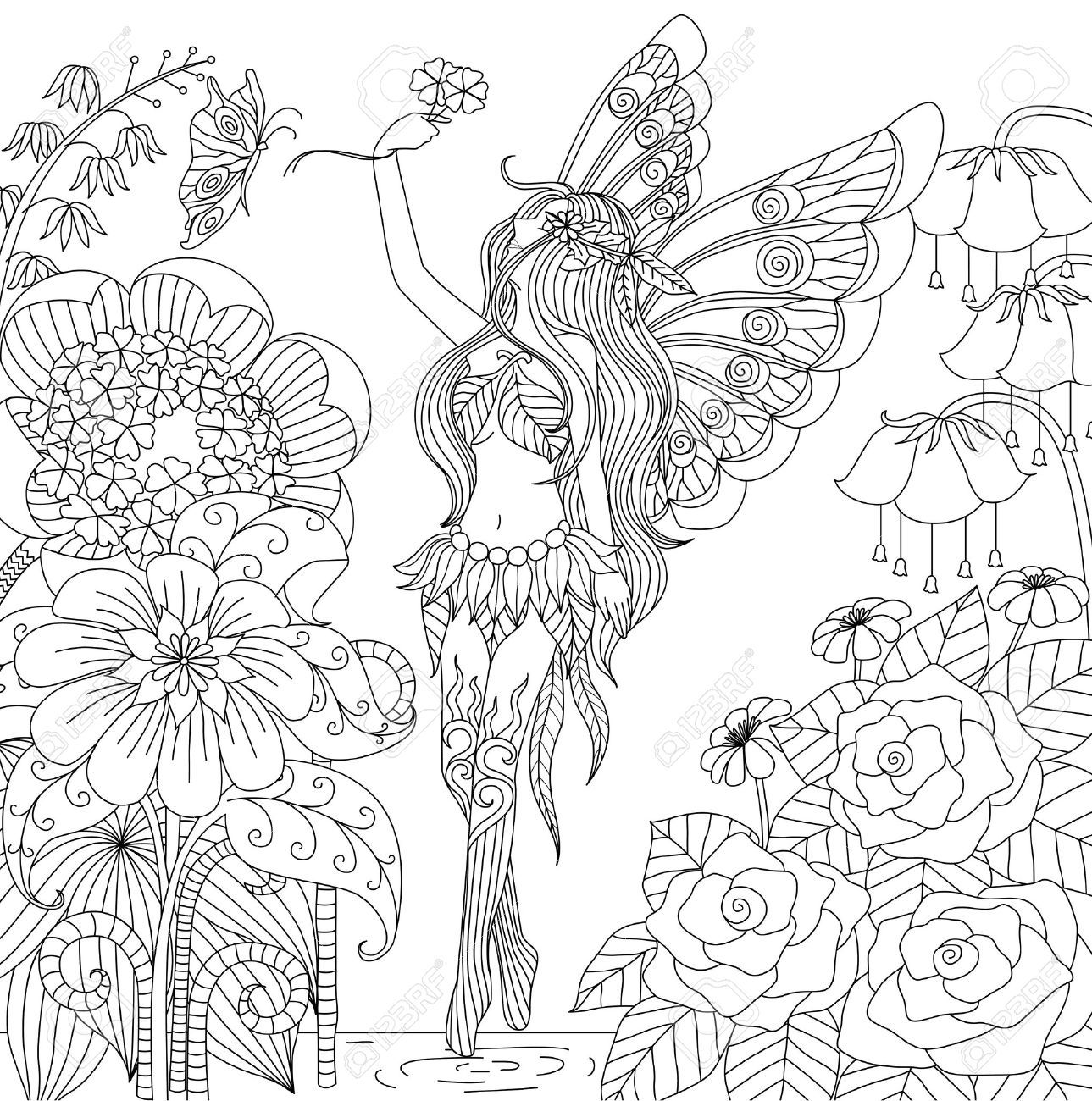 48956833-Hand-drawn-fairy-flying-in-flower-land-for-coloring-book ...