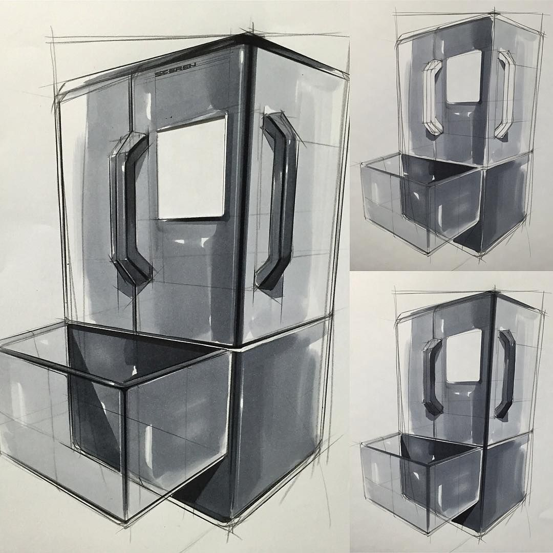 """""""냉장고 스케치 & 마카 Refrigerator Design, Sketch & Marker www.skeren.co.kr #productideasketch #markertechnique #productsketch #productdesign #refrigerator…"""""""