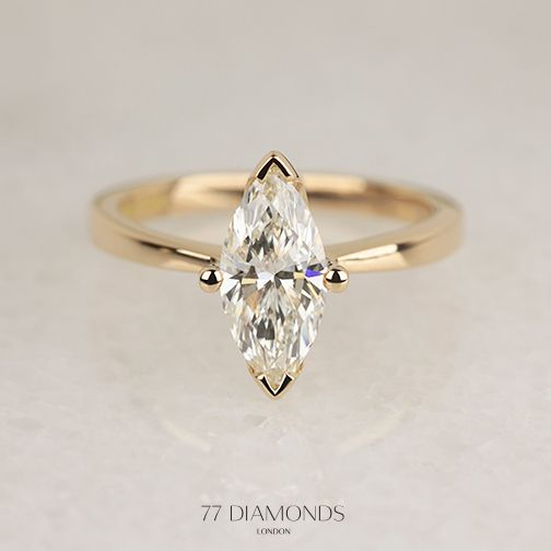The Delicacy Engagement Ring In Flattering Rose Gold Set With A Marquise Cut Diamond