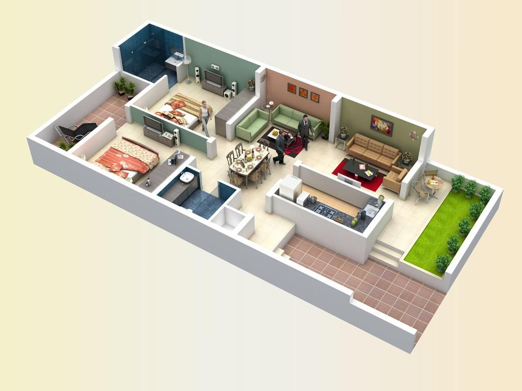 Best 3d Small House Plans 2 Bedroom With Patio 2015 Smallhouseplans 3dfloorplans Smallhomeplans 3d Ho Small House Plans Small House Floor Plans House Plans