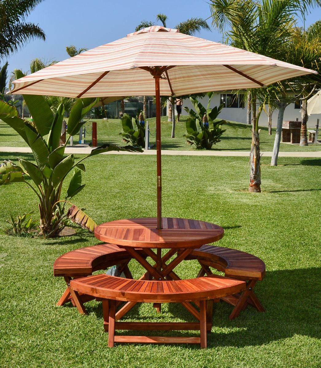 """Round Folding Picnic Table (Options: 42"""", Folding Arc Benches, Redwood [with some Mosaic Eco-Wood boards at the bottom of the seat by custom request], 3 Folding Arc Benches, Standard Tabletop, Checkerboard Design Tabletop, Umbrella Hole & Plug, Transparent Premium Sealant). Umbrella not included."""
