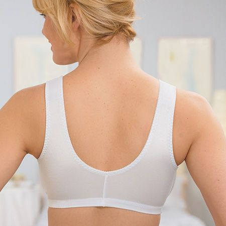 20f6e4de4d Glamorise Complete Comfort Front-Closure Stretch Cup Wireless Unlined Sleep  Full Coverage Bra-1803