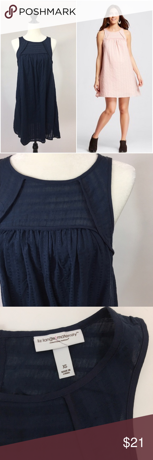 e1755a7a834 LIZ LANGE Navy Maternity Striped Gauze Dress Cute maternity sleeveless gauze  dress that is also lightweight featuring a navy stripe and fully lined!