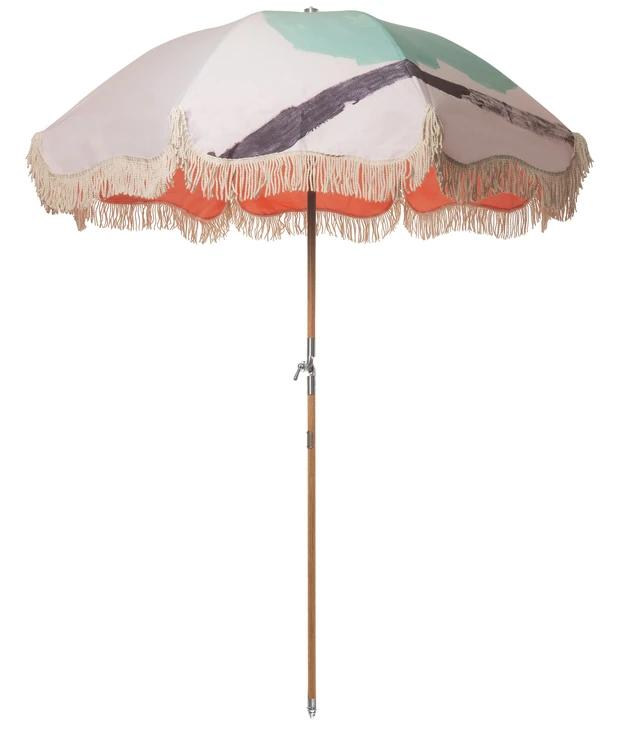 Vintage Print Premium Beach Umbrellas With Fringe Business Pleasure Co In 2020 Beach Umbrella Shade Umbrellas Umbrella