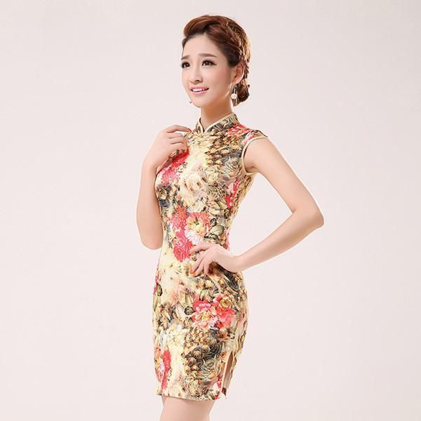 ea78f8307fe New Summer Silk Satin Cheongsam Chinese Traditional Dress Vestido  Sleeveless Female High Neck