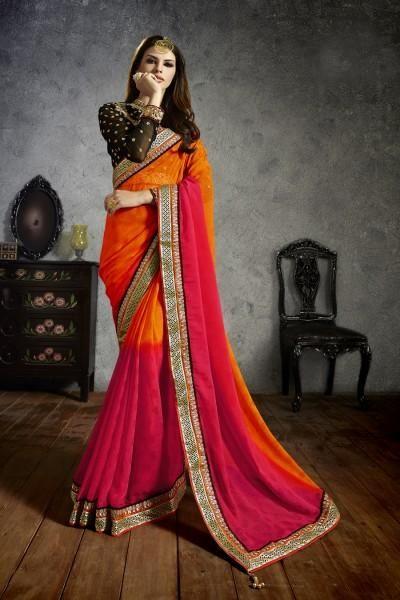 0454ca1a2f029f Art silk patch border work designer traditional saree Red Saree, Party  Sarees, Work Sarees
