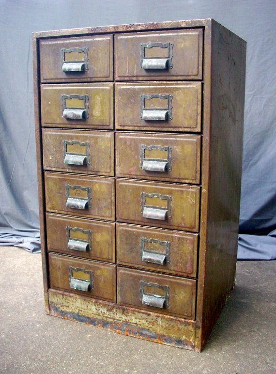 Vintage Metal File Cabinet With 12 Drawers As Found Condition Rough 560 00 Via Etsy