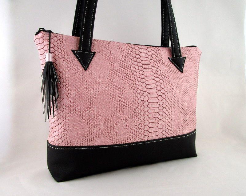 sac cabas en simili cuir dragon rose et simili cuir noir 2 bags designer details pinterest. Black Bedroom Furniture Sets. Home Design Ideas