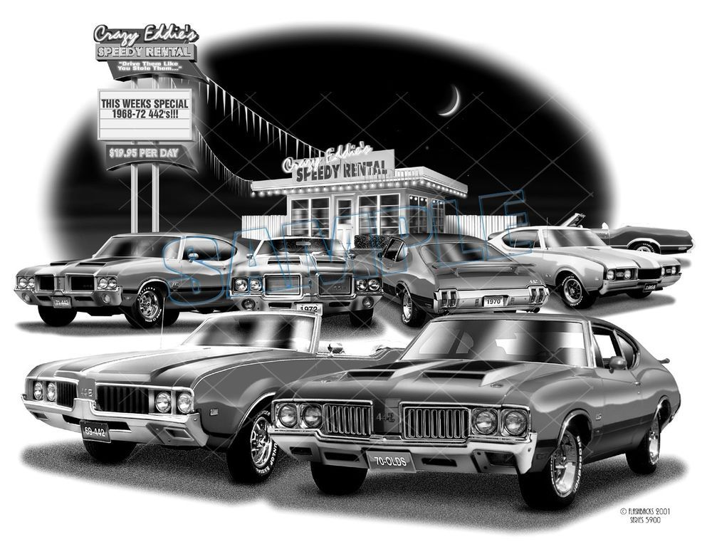 Oldsmobile 68,69,70,71,72 muscle art print **free usa shipping ...