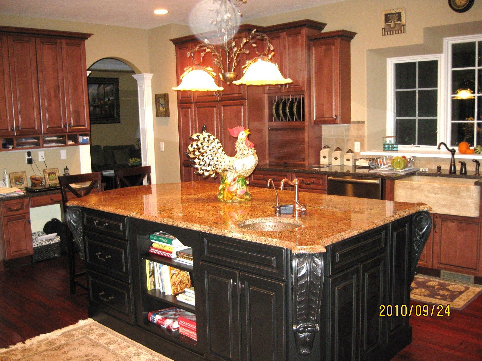 Our french country kitchen with island painted in for Country kitchen cabinets