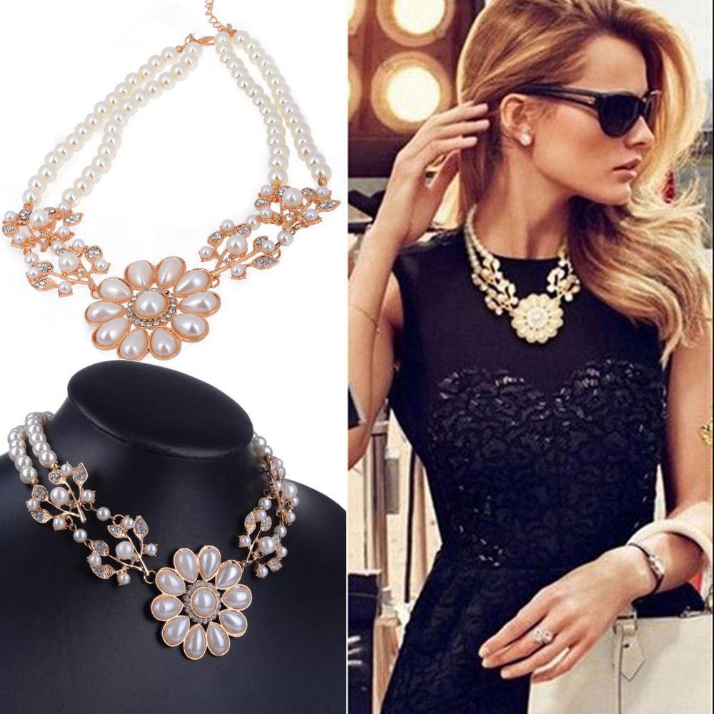 Women Jewelry Crystal Pearl Flower Bib Choker Chunky Statement Collar Necklace #Unbranded #Statement