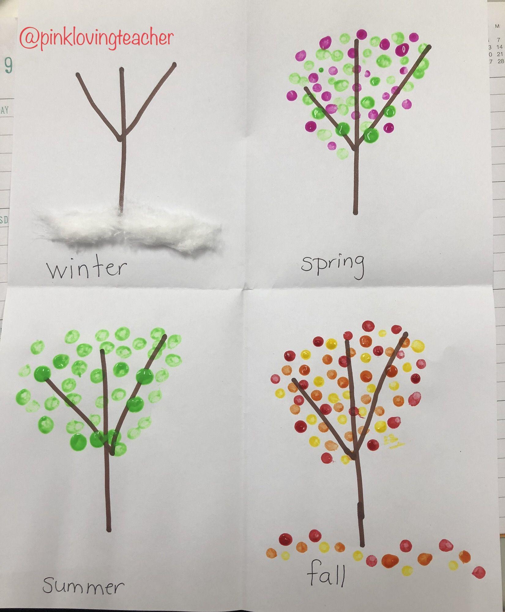 Seasonal Trees Painting Using Cotton Swabs Four Seasons