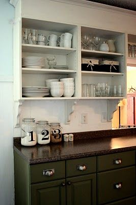 Beautifully colorful painted kitchen cabinets green - Open kitchen cabinet ideas ...