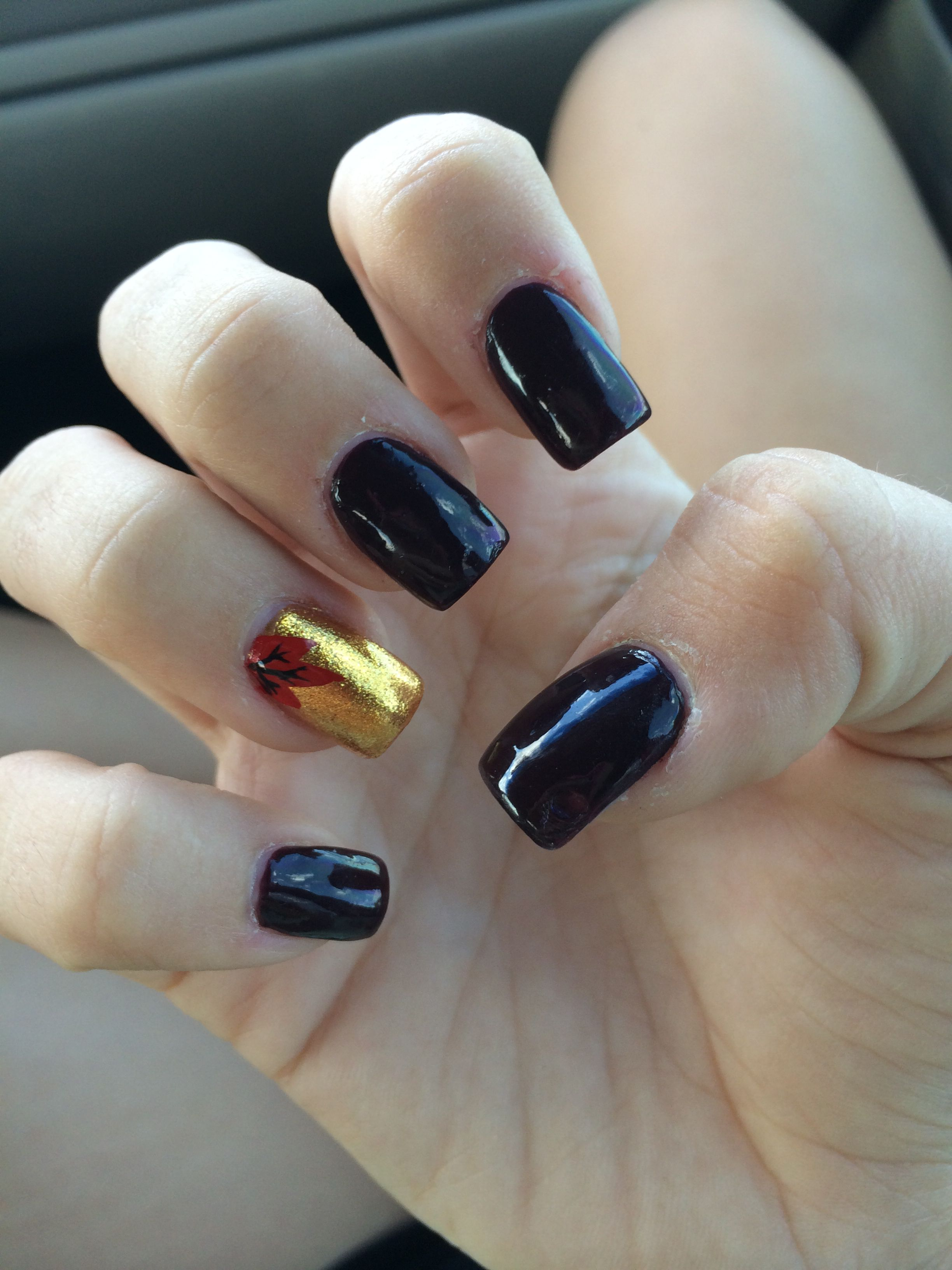 Fall acrylic nails design dark purple and gold/leaf design | : Hair ...