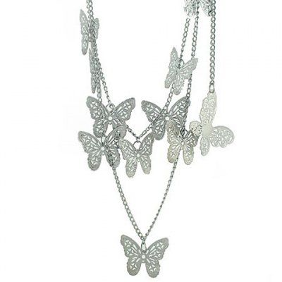 Elegant Style Multi-Layered Butterfly Pendant Decorated Sweater Chain Necklace For Women (COLOR ASSORTED) | Everbuying.com