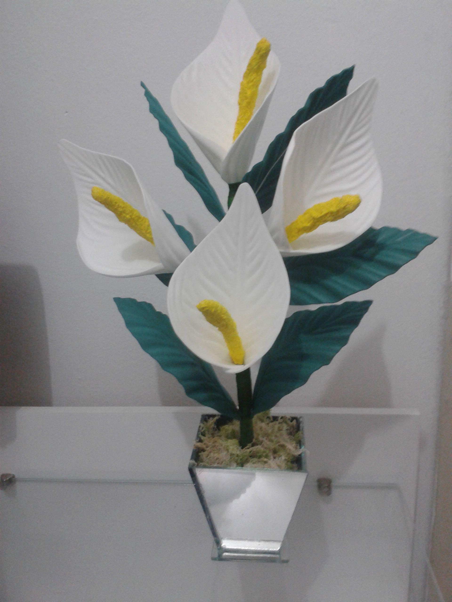 Arranjo De Eva Copo De Leite Com Imagens Flores Em Eva