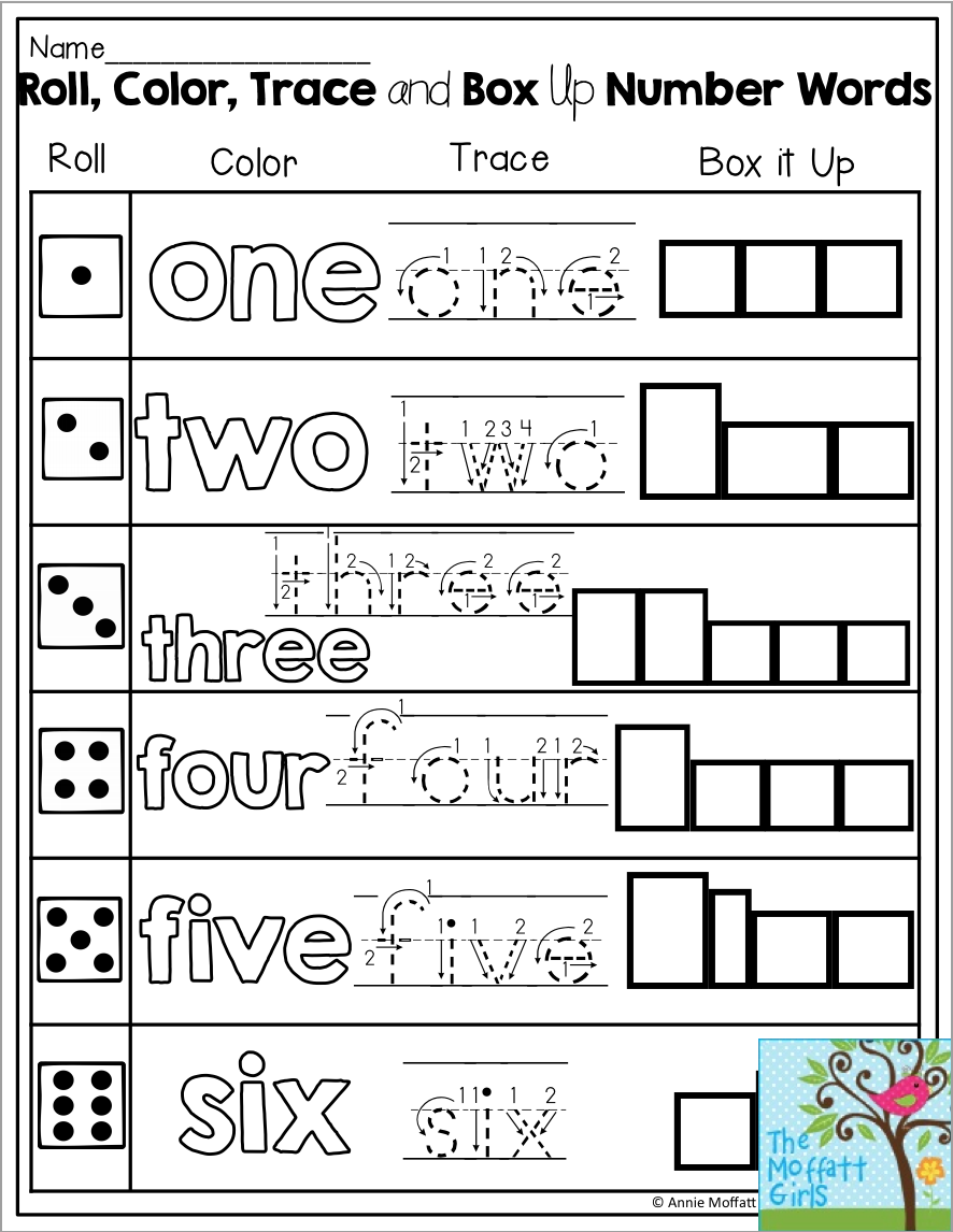 roll color trace and box up number words fun for kindergarten spelling kindergarten. Black Bedroom Furniture Sets. Home Design Ideas
