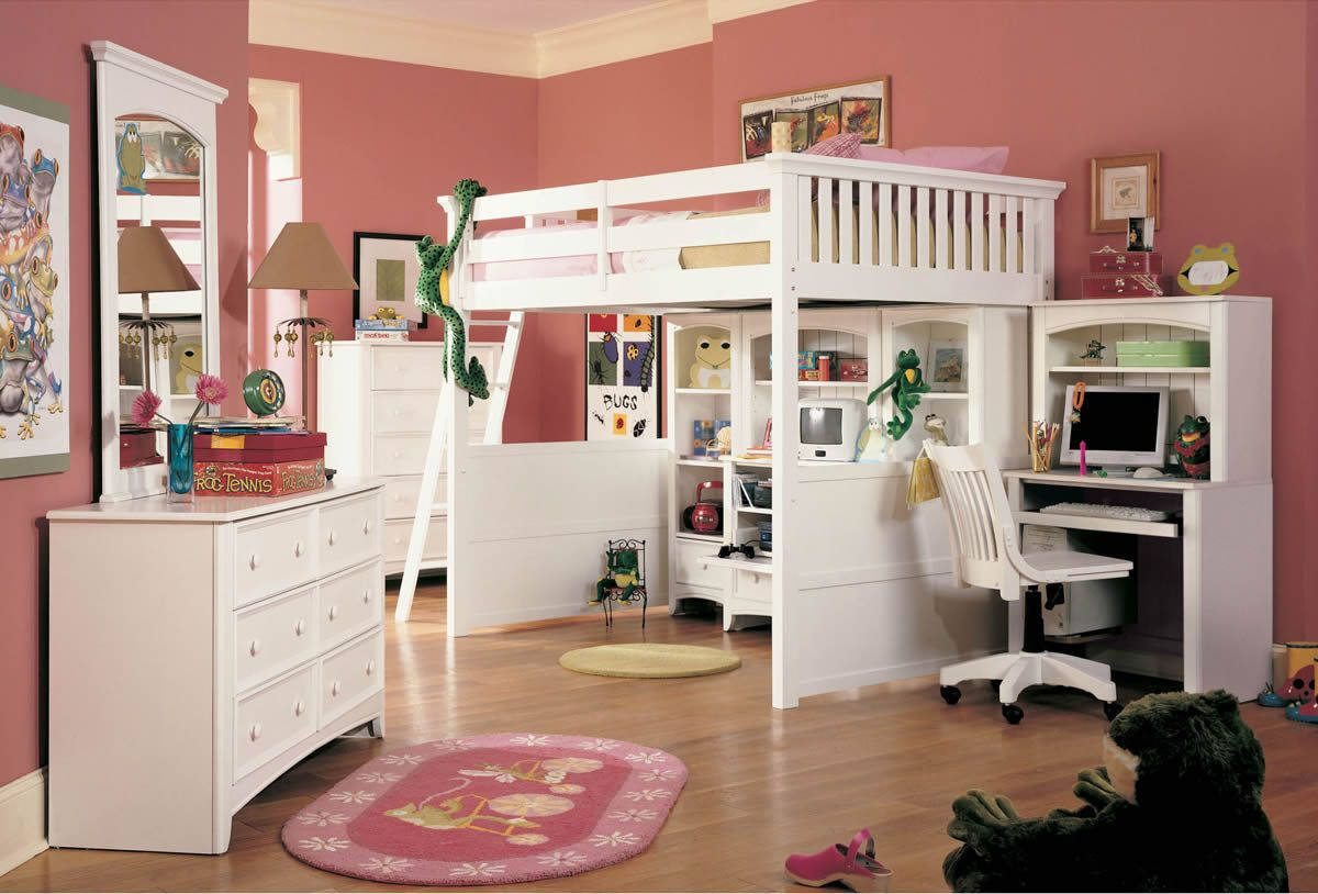 White Wood Twin Over Full Bunk Beds With Stairs And