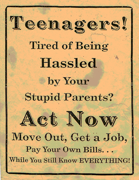 TEENAGERS ACT NOW Poster Hilarious Funny Sign A4 Print Parents Home Wall Decor