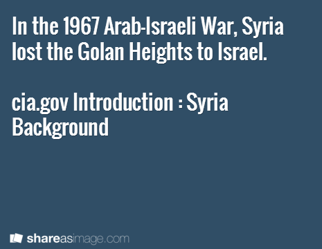In the 1967 Arab-Israeli War, Syria lost the Golan Heights to Israel.  cia.gov Introduction : Syria Background