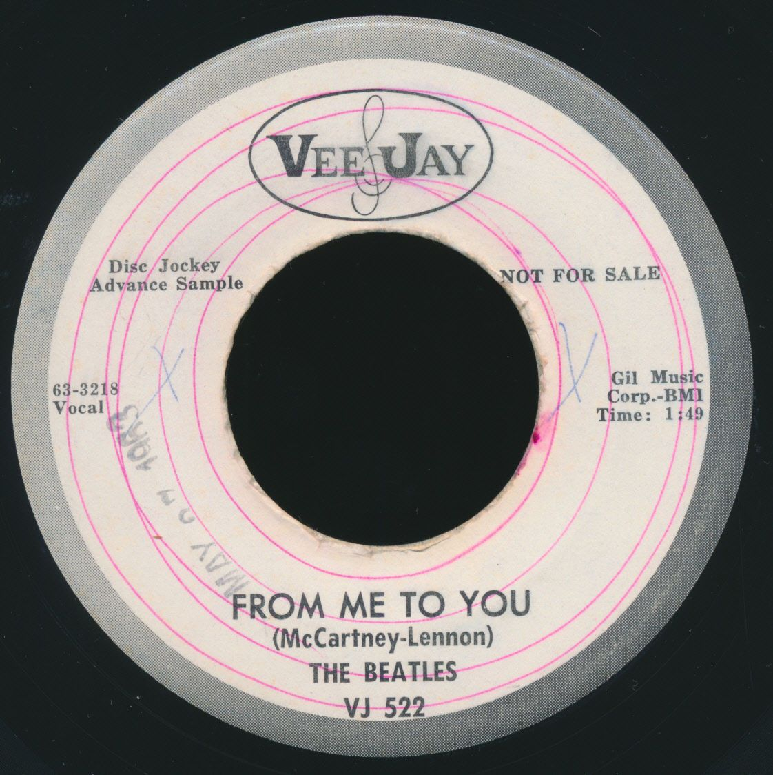 Beatles HISTORIC MID 1963 VEE JAY 522 ' FROM ME TO YOU ' PROMO ISSUE 45!  https://t.co/K69pBobrDp https://t.co/DbH2M2ZsaC