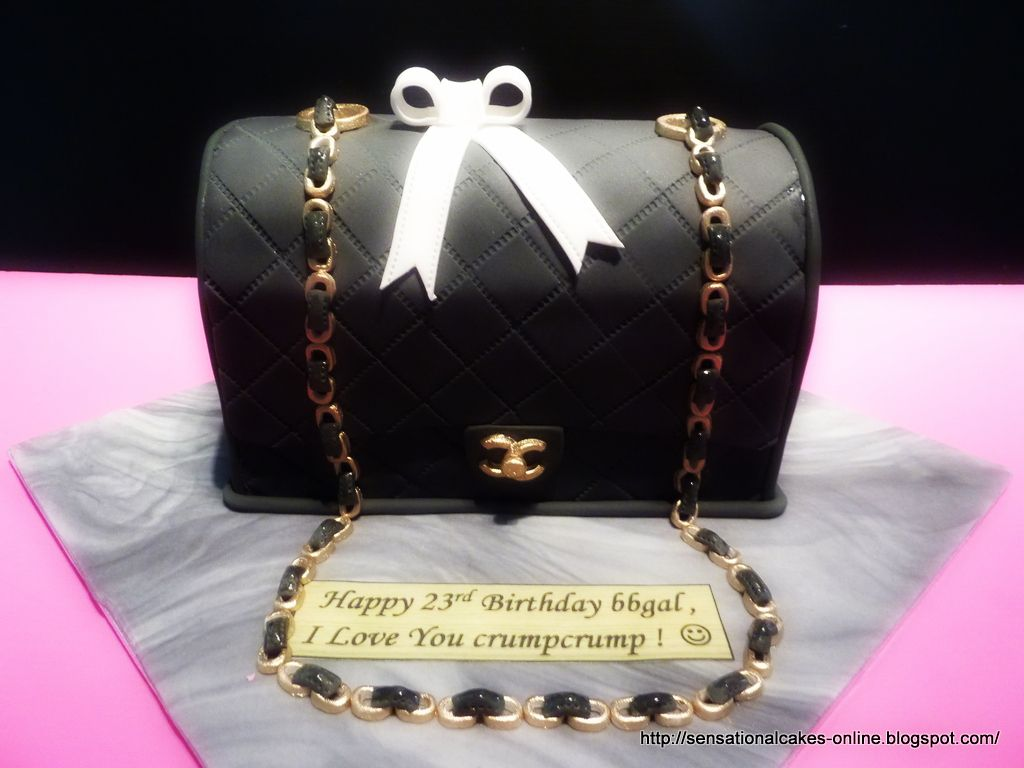 2b8c09deb789 3D CHANEL BAG CAKE ( Black   Gold ) Handbag Cake – Improved (check ...