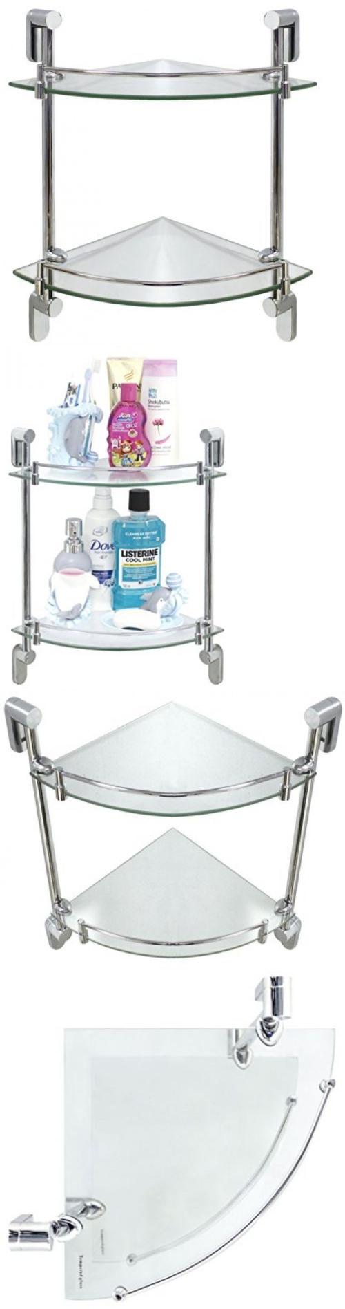 Glass shelf with rail for bathroom - Shelves 31385 Double Corner Glass Shelf Rail Rack Bathroom Storage Organizer Shower Toilet New