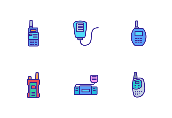 Walkie Talkie Device Icons By Vector Win Walkie Talkie Digital Gadgets Devices