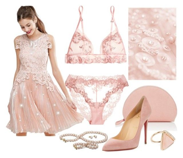 """""""Pink Pearls"""" by itsablingthing ❤ liked on Polyvore featuring La Perla, ASOS, Mansur Gavriel, Christian Louboutin and NLY Accessories"""