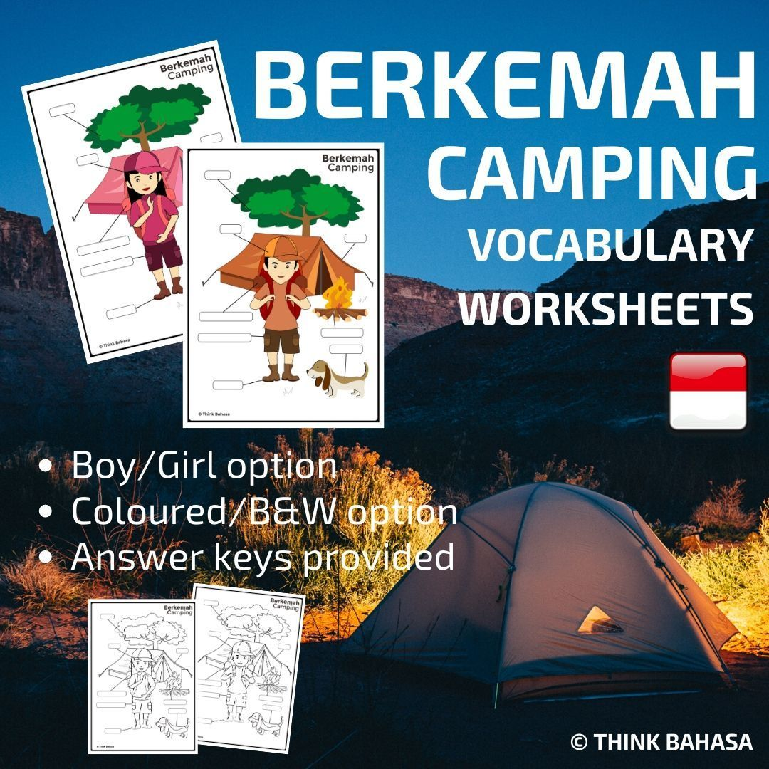 Indonesian Camping Vocabulary Worksheets