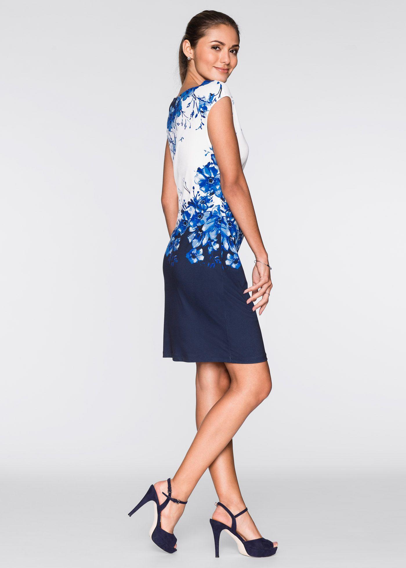 Kleid mit Raffungen schwarz dunkelblau bedruckt - BODYFLIRT jetzt im Online  Shop von bonprix.de ab   32 752a410ce16