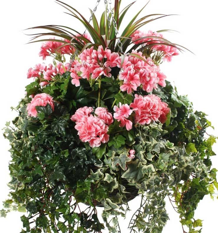 Flower Varieties For Hanging Baskets : Elaborate artificial hanging basket with loads of pink