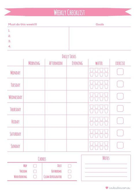Printable Weekly Planner To Do List Weekly planner, Planners and Zoos
