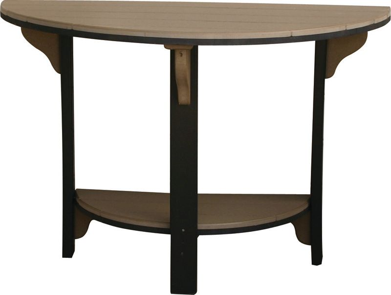patio recycled poly half round bar table