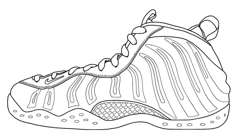 Foamposites Coloring Pages Sneakers Sketch Coloring Pages