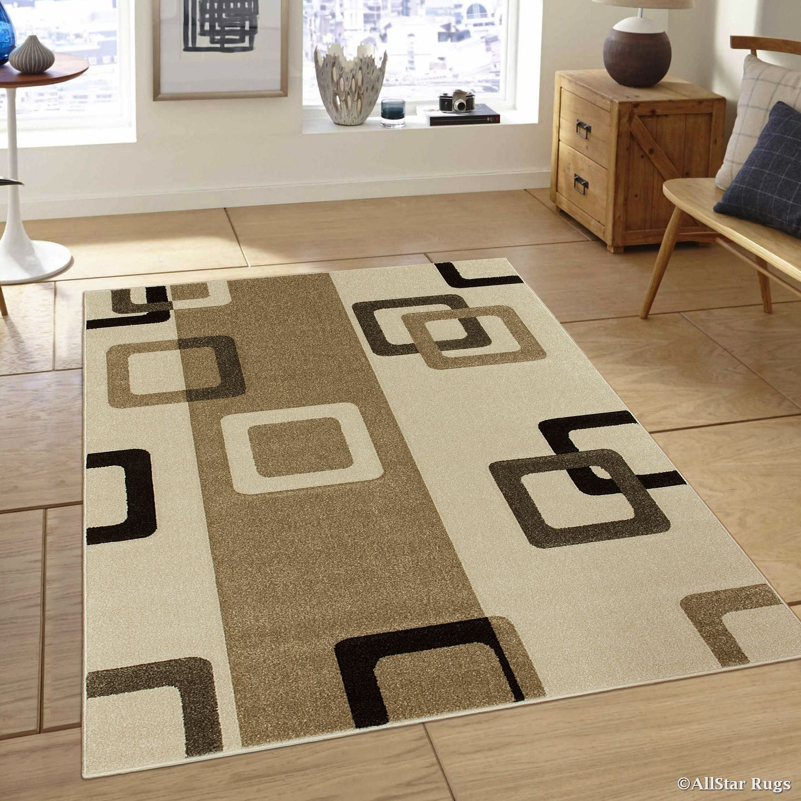 AllStar Rugs Ivory Modern Geometric Formal square design Area Rug