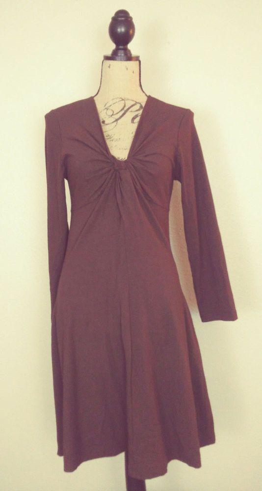 Spiegel Brown Stretch Rayon Knit Mini Dress Gathered Front sz M Z40 #Spiegel #EmpireWaistStretchBodycon #CareerEveningCocktail
