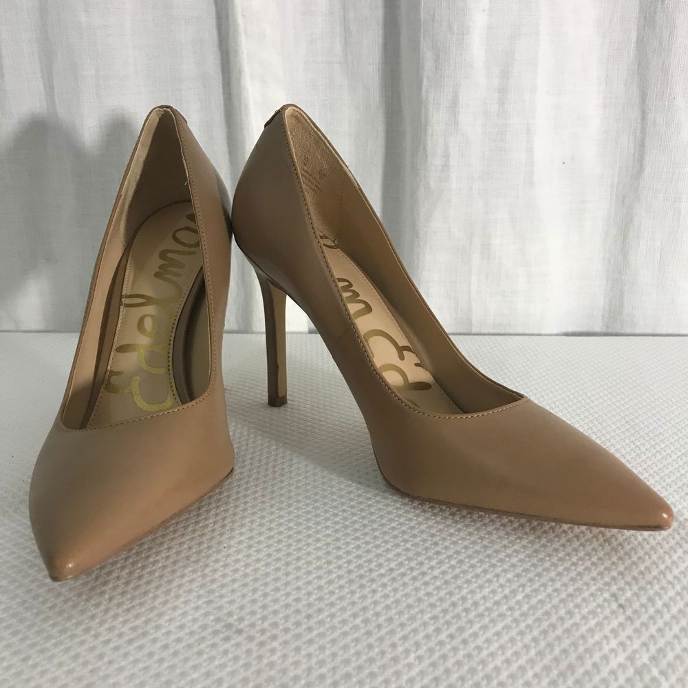 1e8ee3207 NEW Sam Edelman Hazel Classic Leather Pumps 7 Nude Tan Beige Pointed Toe   SamEdelman  Classics