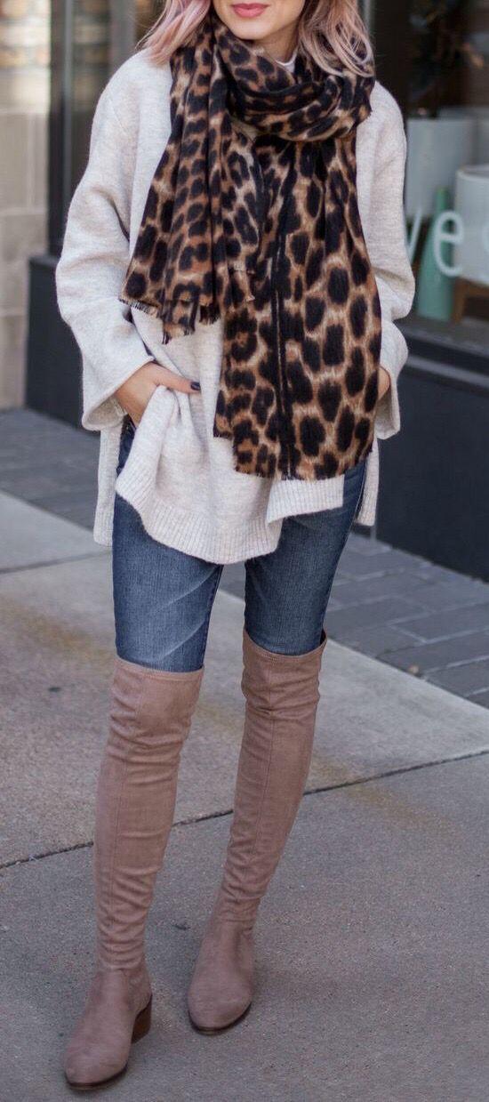 Herbst-Winter-Mode-Outfits lässig mit Leopardenschals