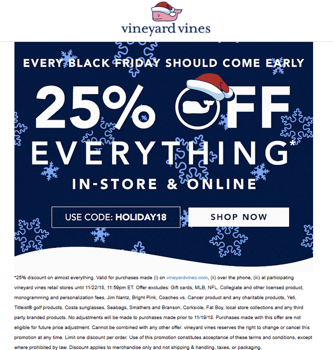 Pinned November 21st 25 Off Everything At Vineyardvines Or Online Via Promo Code Holiday18 Thecouponsapp Shopping Coupons Coupon Apps Promo Codes