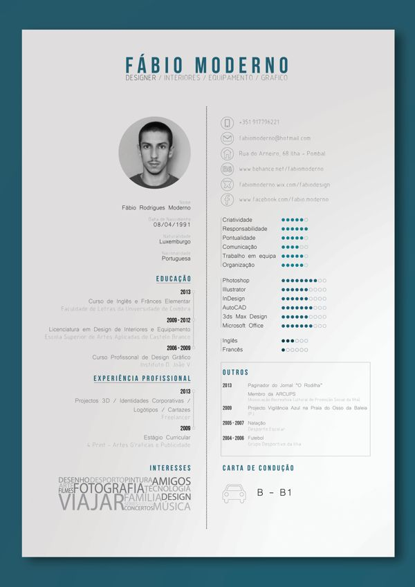 curriculum vitae by fábio moderno via behance profiles design