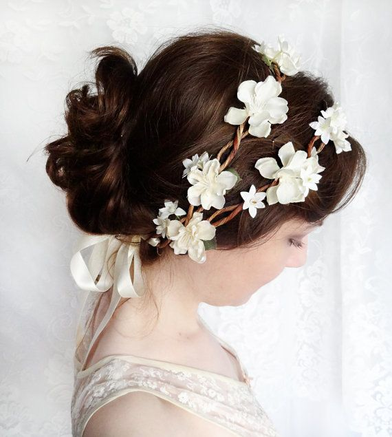 wedding hair accessories ivory flower bridal head by thehoneycomb