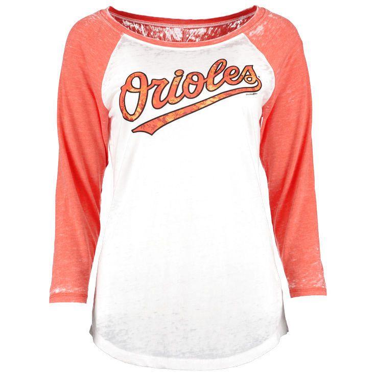 77f82ca04 Baltimore Orioles 5th   Ocean by New Era Women s Burnout Flower 3 4-Sleeve  Raglan T-Shirt - White Orange -  27.99