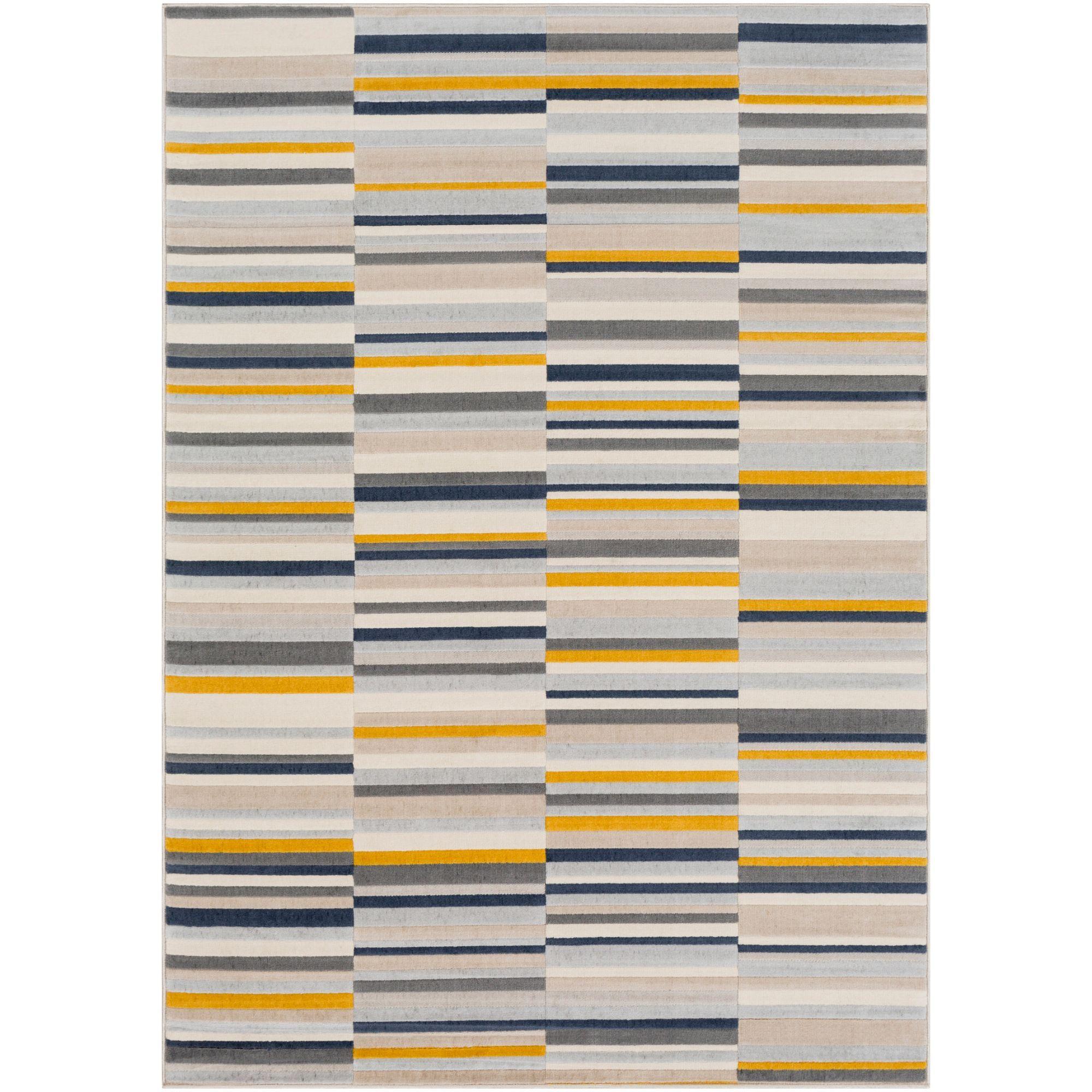 7 8 X 10 25 Geometric Patterned Mustard Yellow And Gray