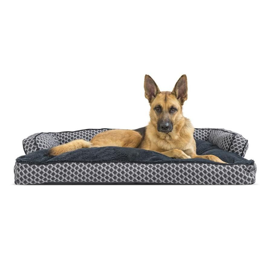 Furhaven Jumbo Plush And Decor Comfy Couch Pillow Sofa Style Pet Bed Diamond Gray Lowes Com Couch Pet Bed Comfy Couch Pillows Rectangular Dog Bed