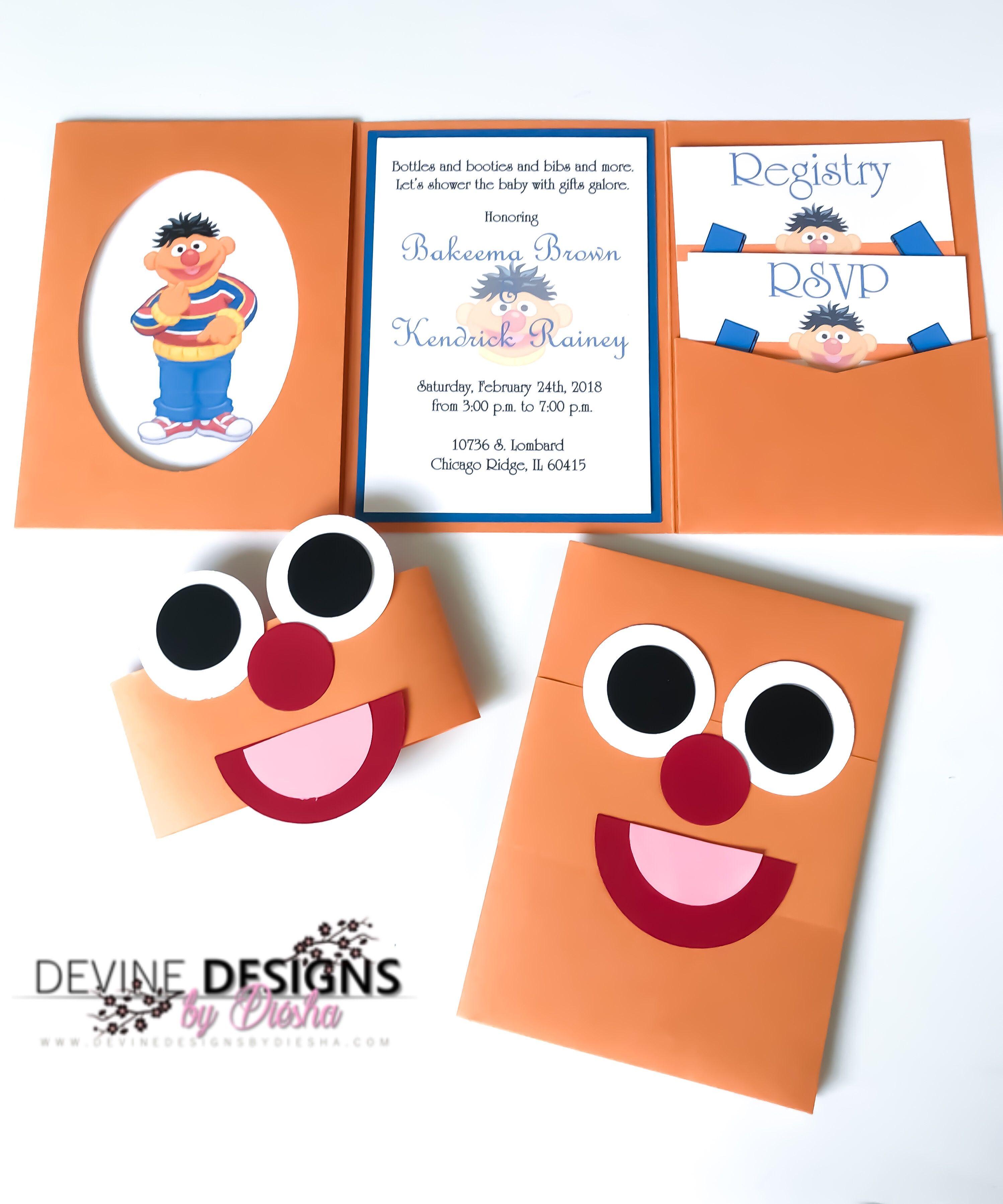 Ernie baby shower invitations- Sesame Street inspired invitations ...