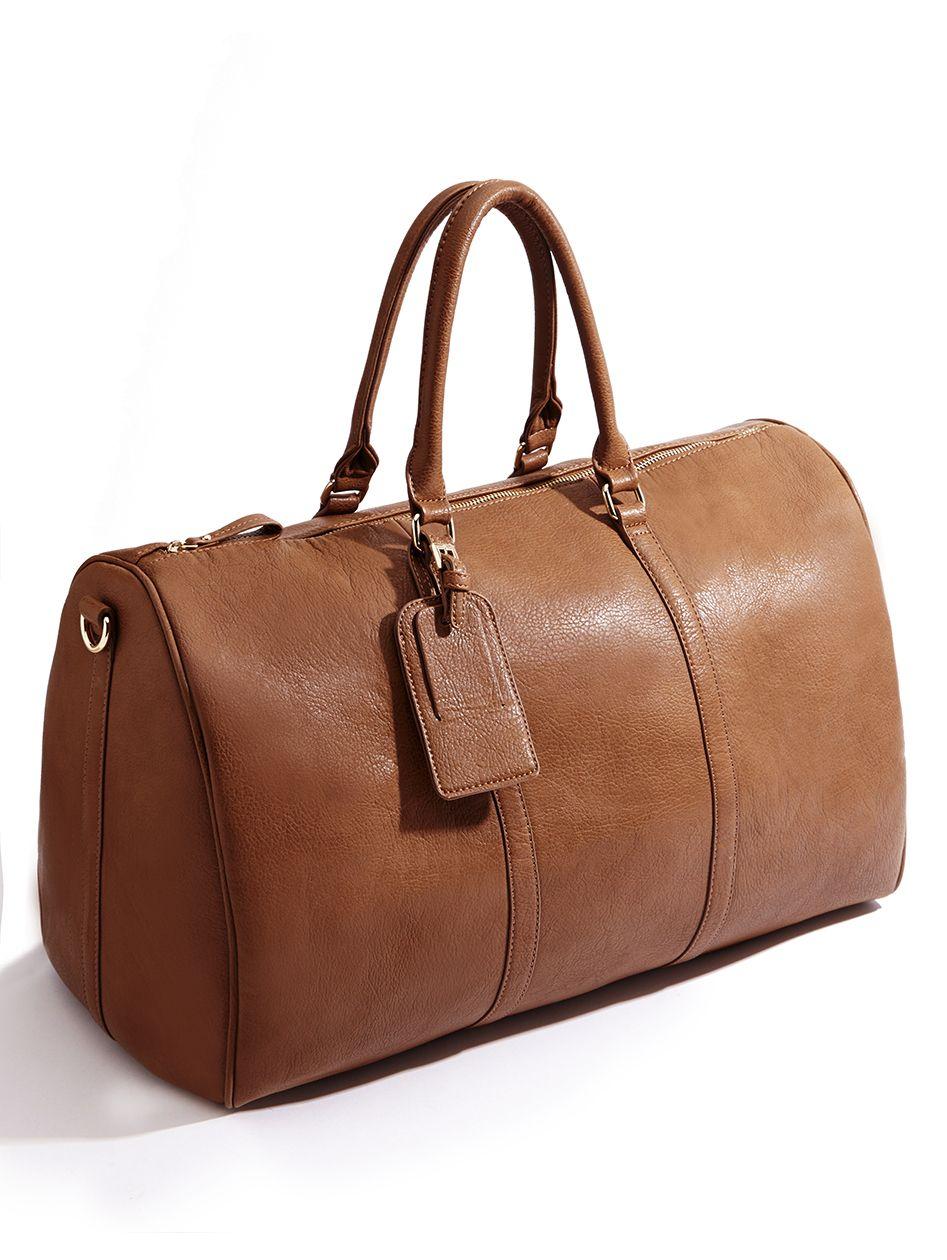 2799452c59 Brown oversized vegan weekender bag