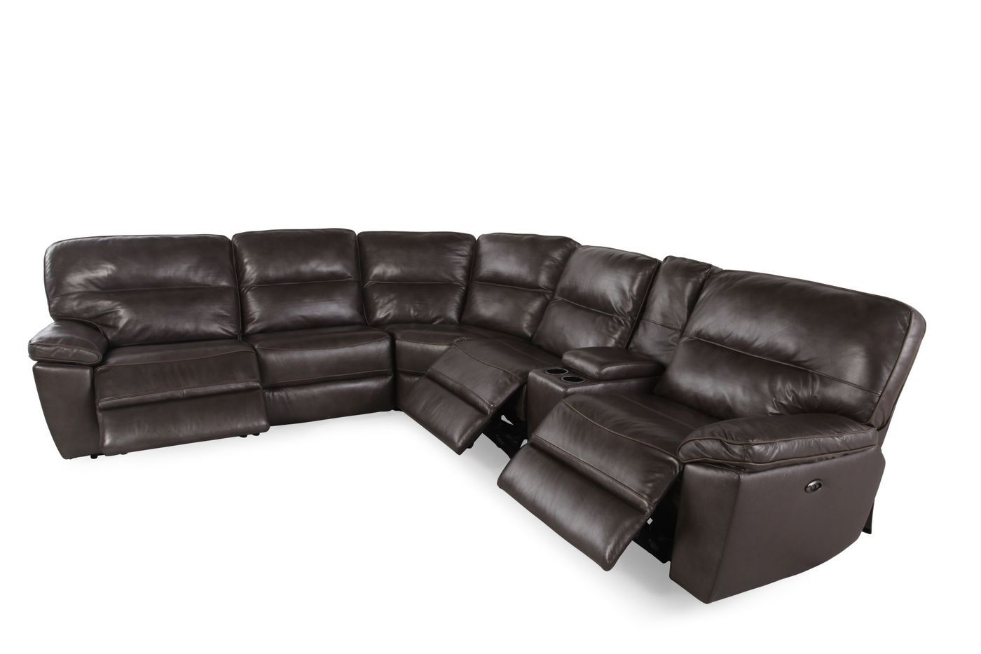 Boulevard Leather Match Six Piece Sectional Mathis Brothers